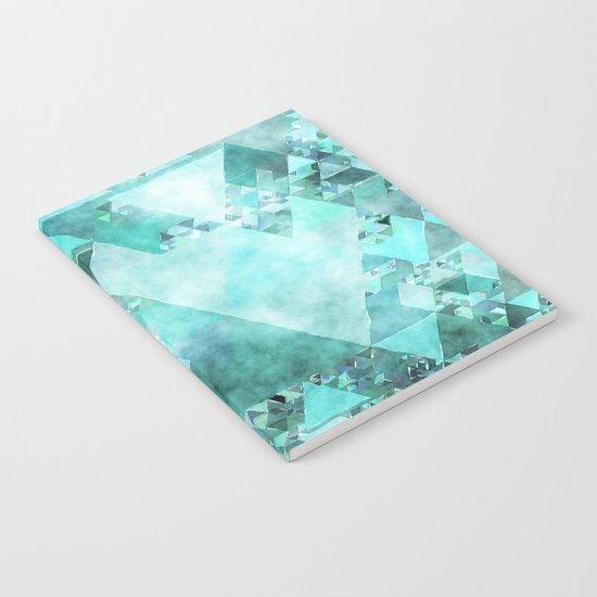Triangles in aqua - Modern turquoise green blue triangle pattern Notebook
