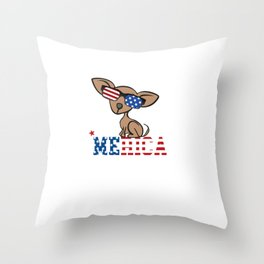 Chiweenie Merica Independence Freedom Throw Pillow
