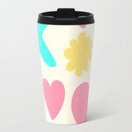 Pastel Shapes Pattern on Pale Yellow Travel Mug