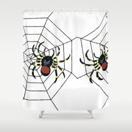 two big Spider Halloween web Shower Curtain