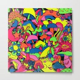 Magical Mushroom World in Neon + Black Metal Print