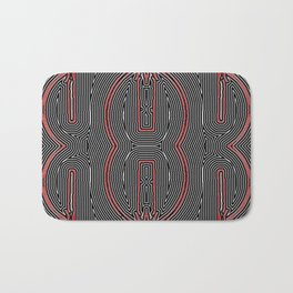 Maze Texture Red Black and White Design Bath Mat