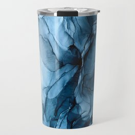 Deep Blue Flowing Water Abstract Painting Travel Mug