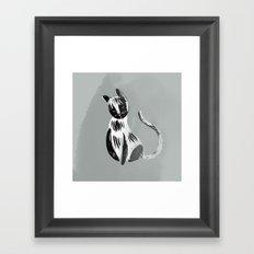 Halftone Kitty black and grey Framed Art Print