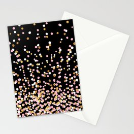 Floating Dots - White, Gold and Pink on Black Stationery Cards