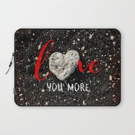 """""""Love You More"""" Hawaii Beach with Coral Heart Photo Laptop Sleeve"""