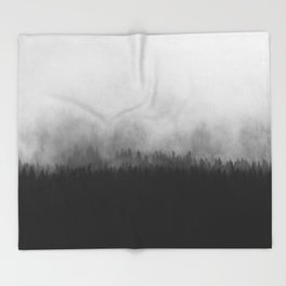 Minimalist Modern Black And white photography Landscape Misty Black Pine Forest Watercolor Effect Sp Throw Blanket