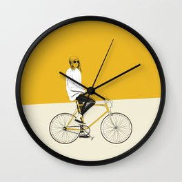 The Yellow Bike Wall Clock