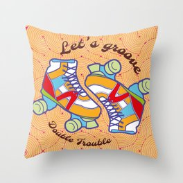 Let's Groove Roller Derby Orange Throw Pillow