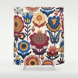 Scandinavian Folk Art Pattern Shower Curtain