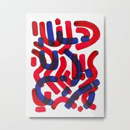 Mid Century Modern Abstract Colorful Unique Alien Pattern Shapes Burgundy Blue Alien Symbols Metal Print