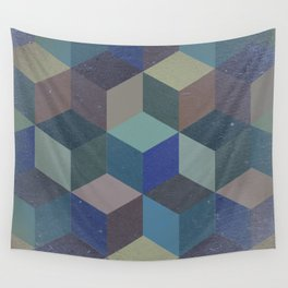 Dimension in blue Wall Tapestry