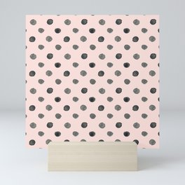 Hand drawn grey dots on pink - Mix & Match with Simplicty of life Mini Art Print