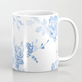 Modern navy blue white watercolor elegant floral Coffee Mug