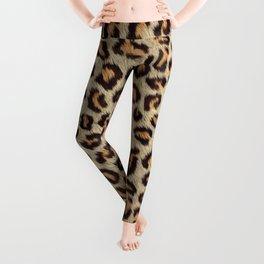 Brown spots leopard faux fur pattern Leggings