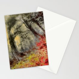 abstract misty forest painting hvhd hfsepia Stationery Cards