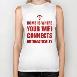 HOME IS WHERE YOUR WIFI CONNECTS AUTOMATICALLY (Red) Biker Tank