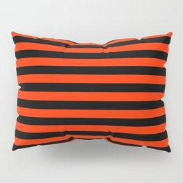 Bright Red and Black Horizontal Stripes Pillow Sham