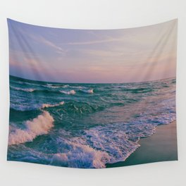 Sunset Crashing Waves Wall Tapestry