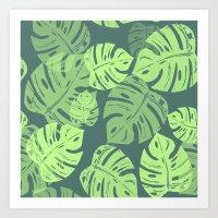 Linocut Monstera Tropical Green Art Print