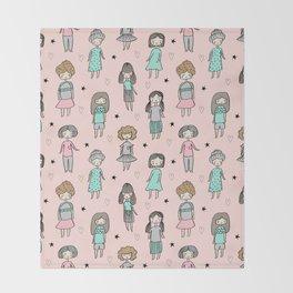 Girls illustration little women cute pattern kids rooms gifts Throw Blanket