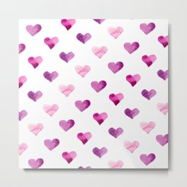 Pink Love Hearts Metal Print