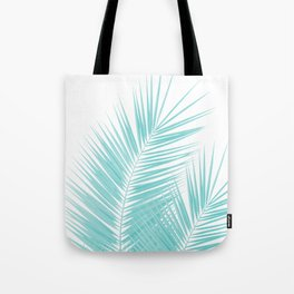 Soft Turquoise Palm Leaves Dream - Cali Summer Vibes #1 #tropical #decor #art #society6 Tote Bag