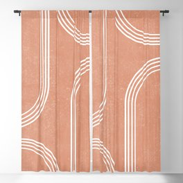 Mid Century Modern 2 - Geometrical Abstract - Minimal Print - Terracotta Abstract - Burnt Sienna Blackout Curtain