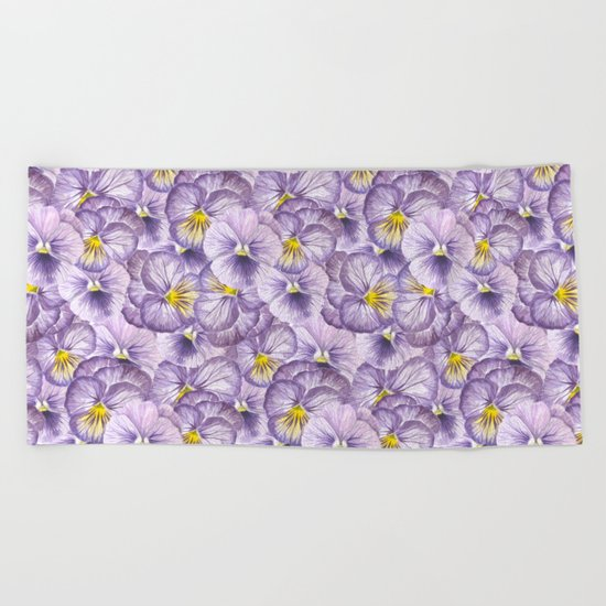 Watercolor floral pattern with violet pansies Beach Towel