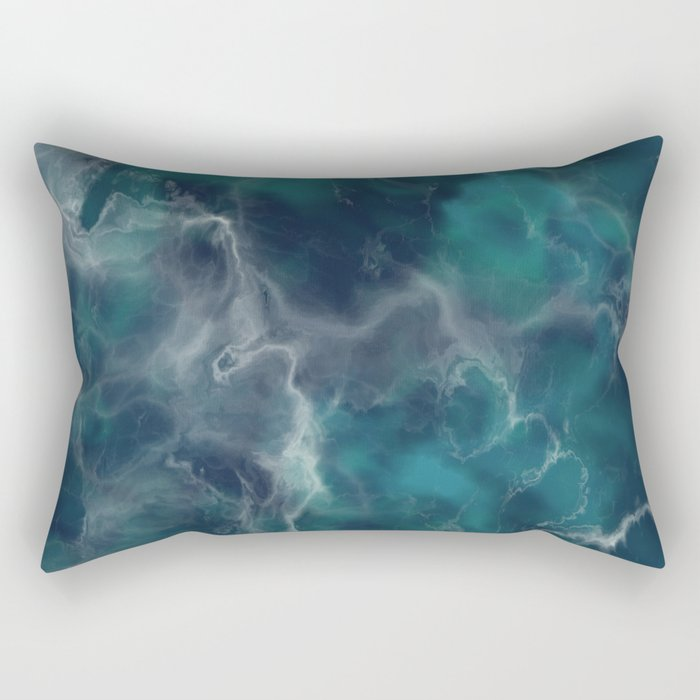 Deep Turquoise Marble Rectangular Pillow