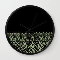 tigers Wall Clocks featuring Tigers by Camille Hermant