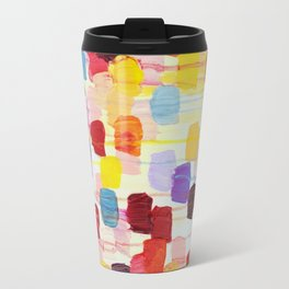 DOTTY - Stunning Bright Bold Rainbow Colorful Square Polka Dots Lovely Original Abstract Painting Travel Mug