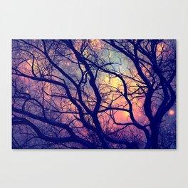 Black Trees Deep Pastels Space Canvas Print