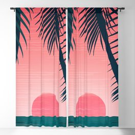 Tropical Sunset Scene - Pink and Emerald Palette Blackout Curtain