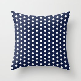 Navy Blue Polka Dots Minimal Throw Pillow