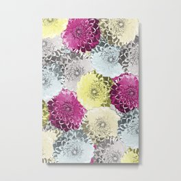 Colorful dahlia flower bulbs pattern Metal Print