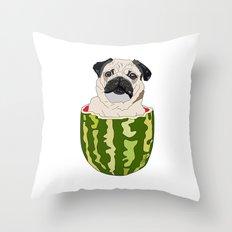 Pug Watermelon Throw Pillow
