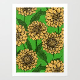 Dahlias in yellow and green Art Print
