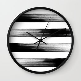 Japanese calligraphy stroke stripe -Zen style, black and white Wall Clock