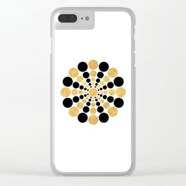 CIRCULAR BLACK AND GOLD SHAPE Clear iPhone Case