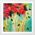 ROSE RAGE Stunning Summer Floral Abstract Flower Bouquet Feminine Pink Turquoise Lime Nature Art by ebiemporium