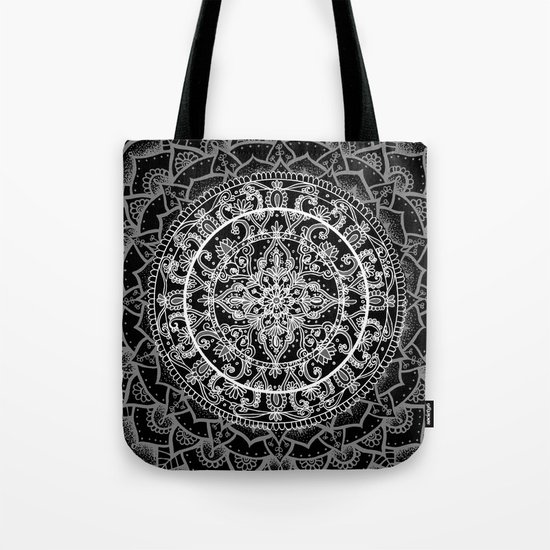 Detailed Black and White Mandala Pattern Tote Bag