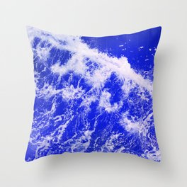 Neon Blue Waves Throw Pillow