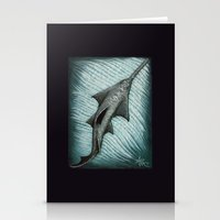 biology Stationery Cards featuring Sawfish - Acrylic Painting by Amber Marine