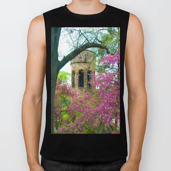 Bell Tower in Spring Biker Tank