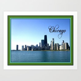 Chicago Skyline with Border Art Print