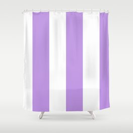 Wide Vertical Stripes - White and Light Violet Shower Curtain