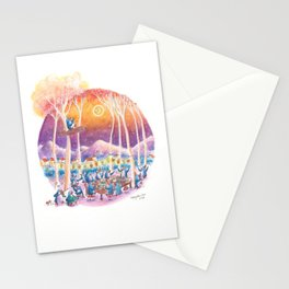 Penguins have a party under the stars in a forest park Stationery Cards