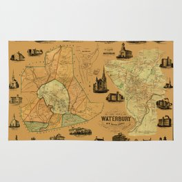 Map Of Waterbury 1852 Rug