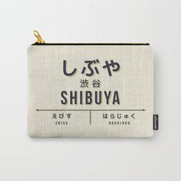 Vintage Japan Train Station Sign - Shibuya Tokyo Cream Carry-All Pouch